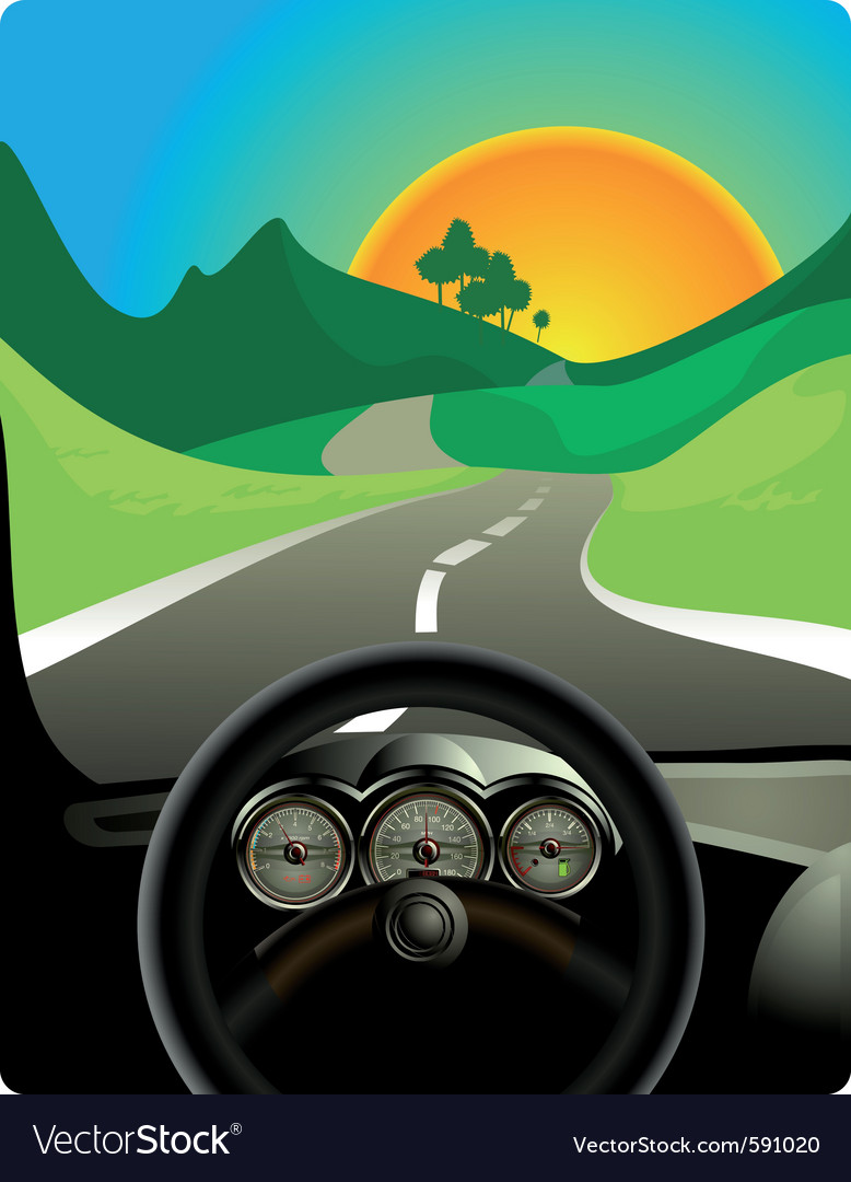 Driving on long road vector