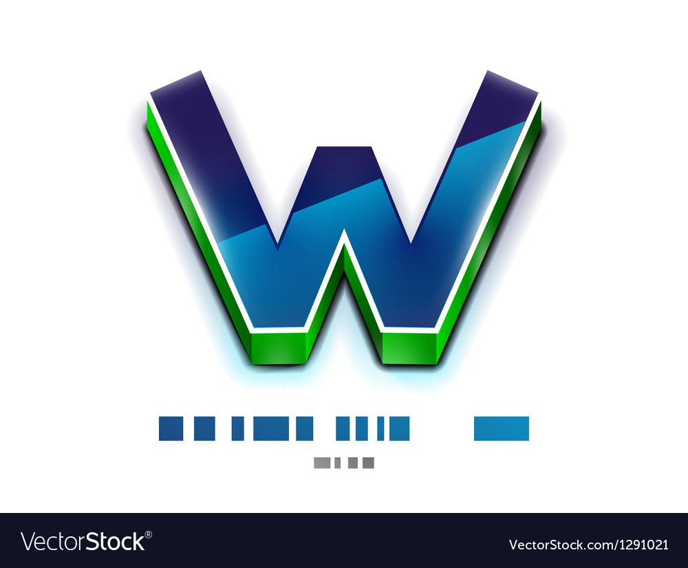 3d w letter tecnology business symbol vector