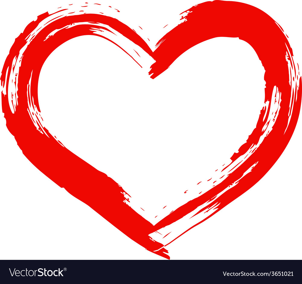 Dry brush painted heart vector