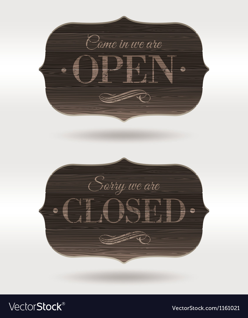 Retro wooden signs  open and closed vector
