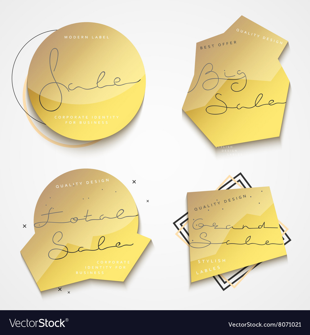 Set 4 gold label with black text sales for store vector