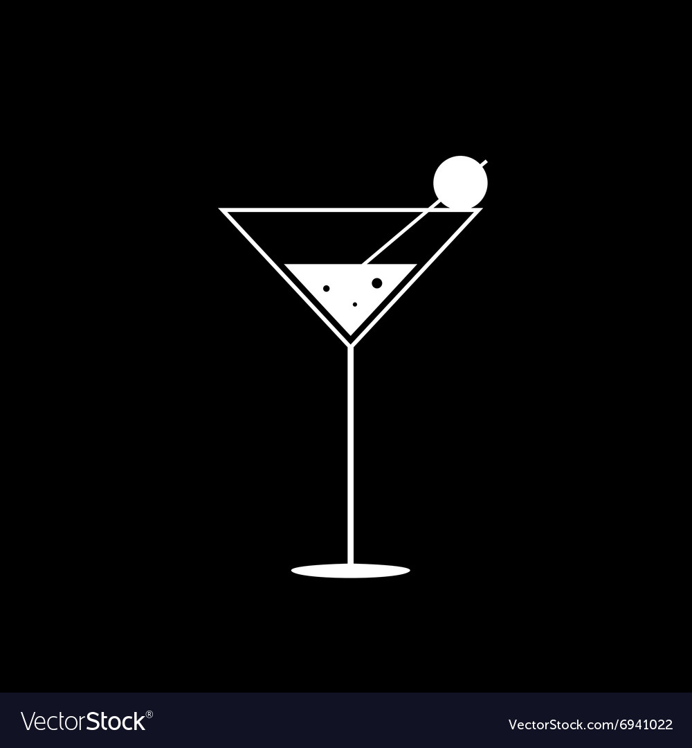 Martini black and white vector