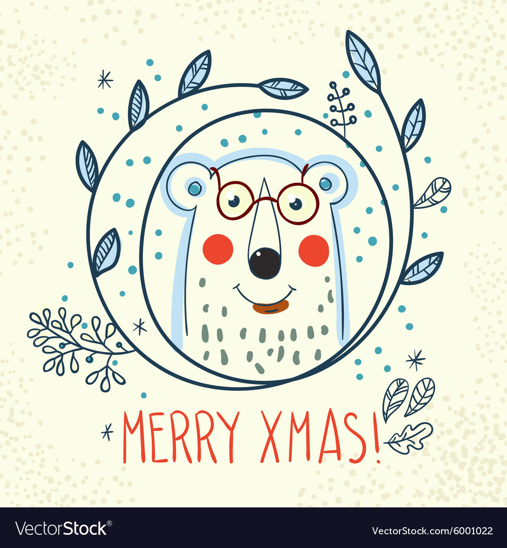 Polar bear hipster inside a wreath of hand drawn vector