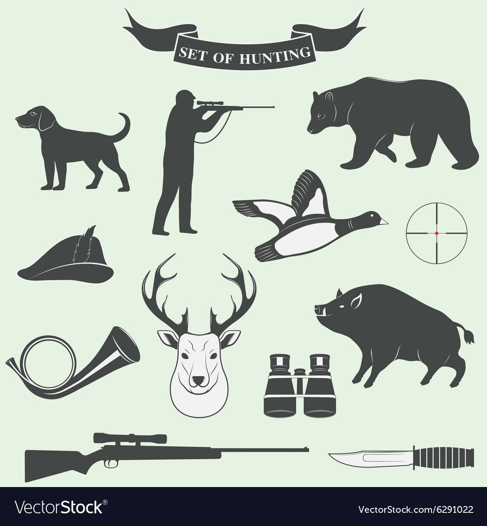 Set of vintage labels on hunting vector