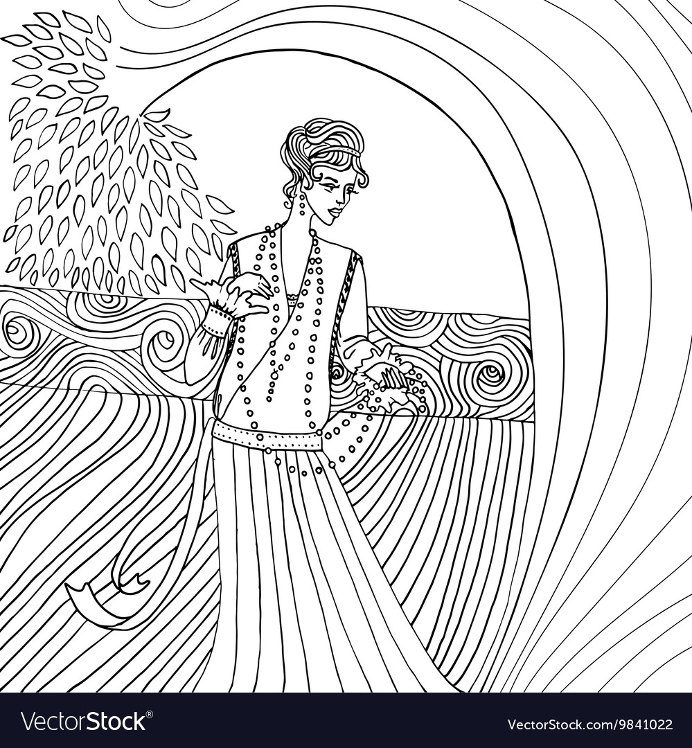 Uncolored beautiful fashion woman retro style vector