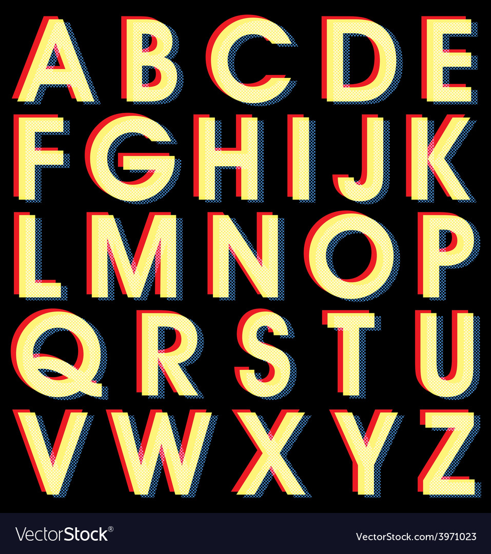 Light alphabet on black background vector