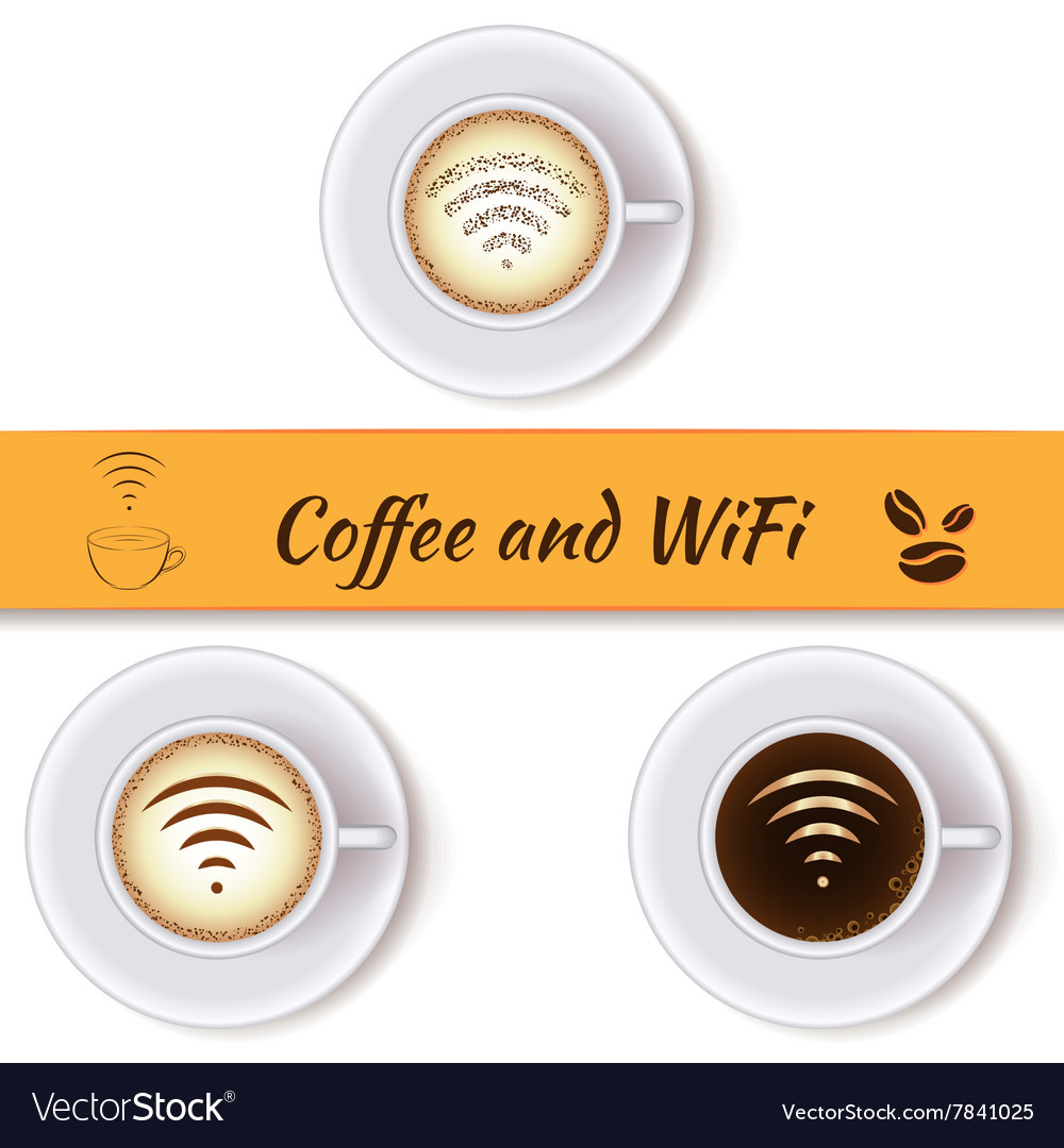 Coffee cups and wifi symbol vector