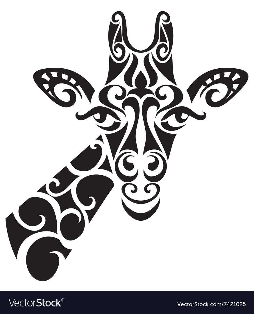 Decorative ornamental giraffe silhouette vector