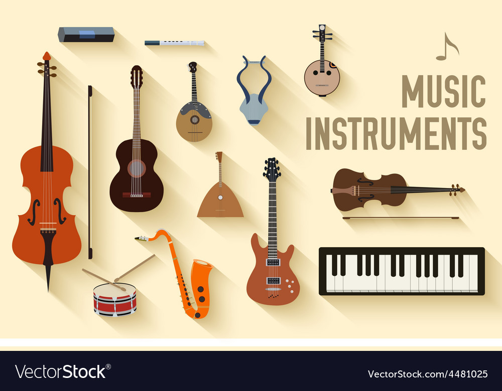 Flat music instruments background concept vector