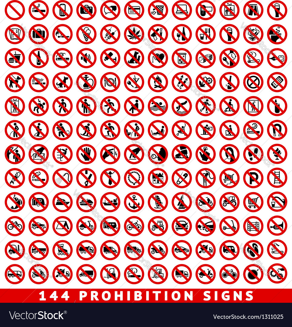 Prohibition signs big set vector