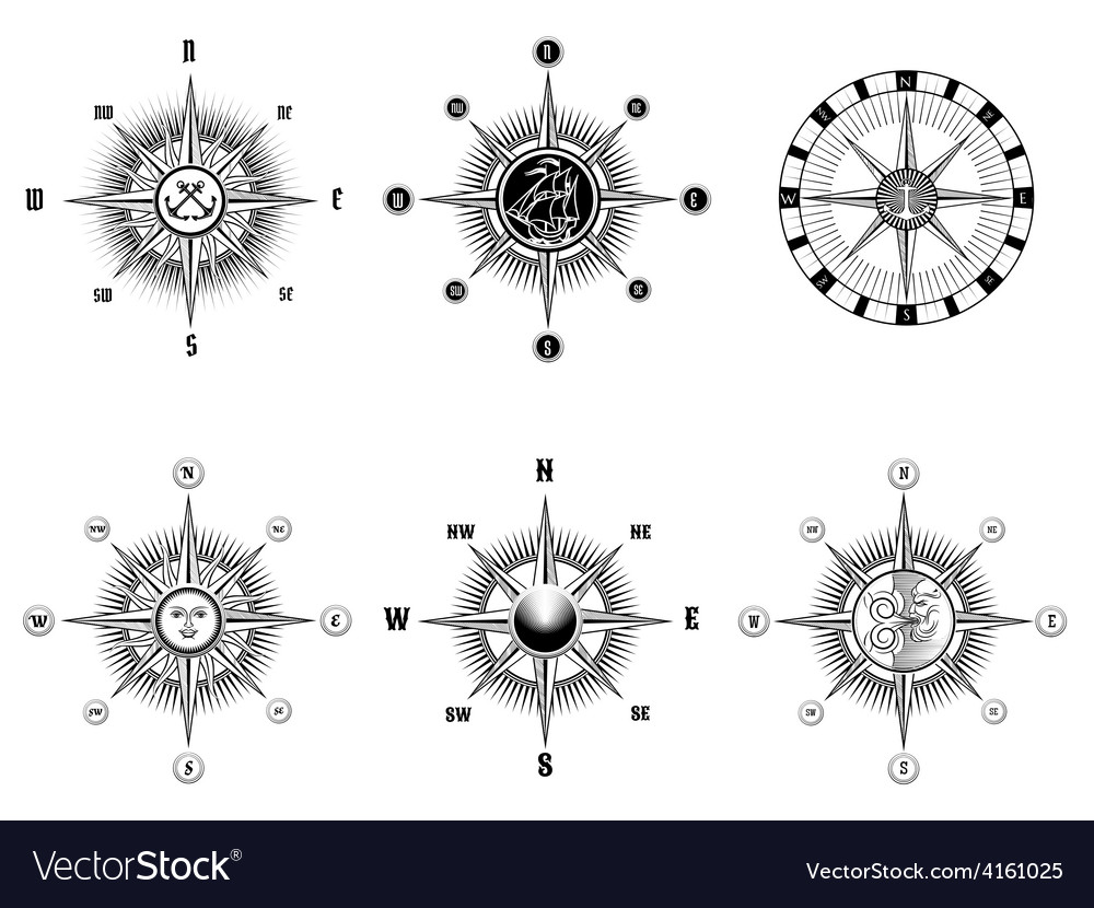Vintage nautical or marine compass icons vector