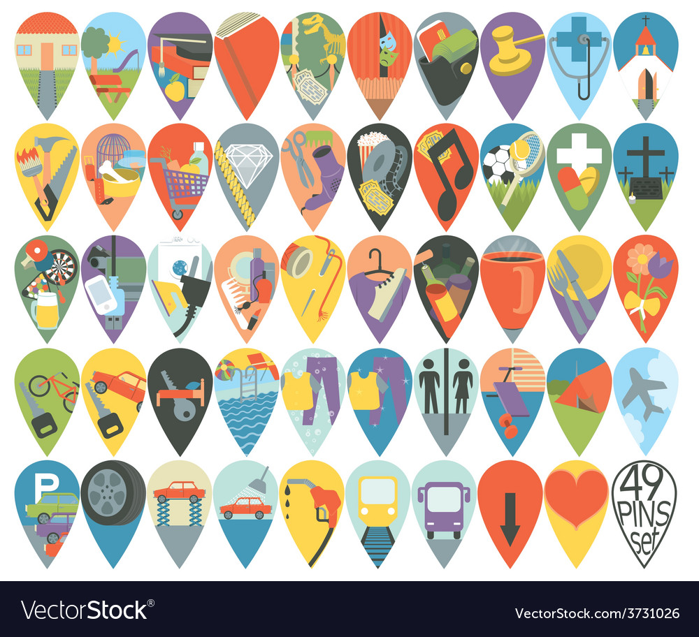Mega set of map pins vector