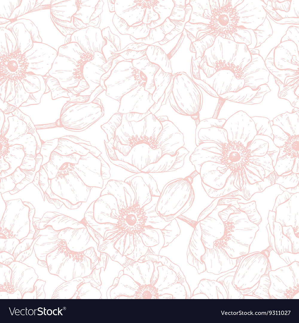 Pink anemone seamless pattern hand drawn vector