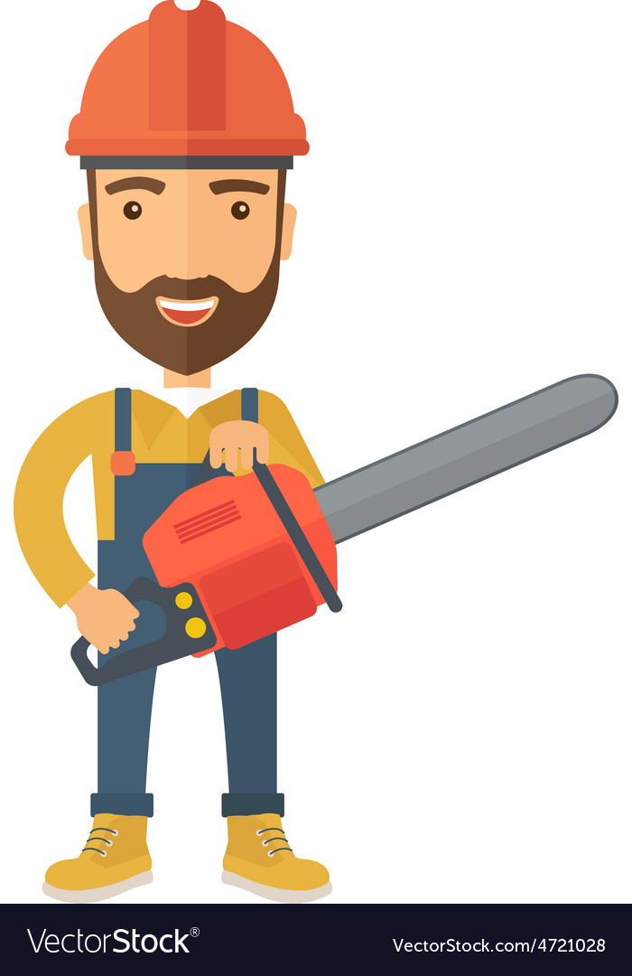 Lumberjack with chainsaw vector