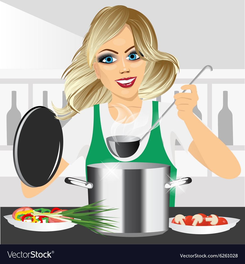 Smiling young woman cooking in kitchen vector