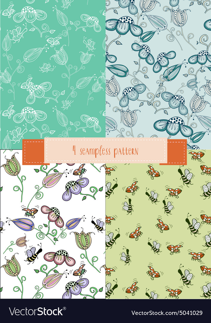 Set of decorative backgrounds with flowers and vector