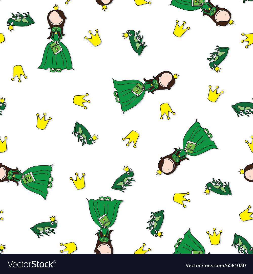 Frog prince pattern vector