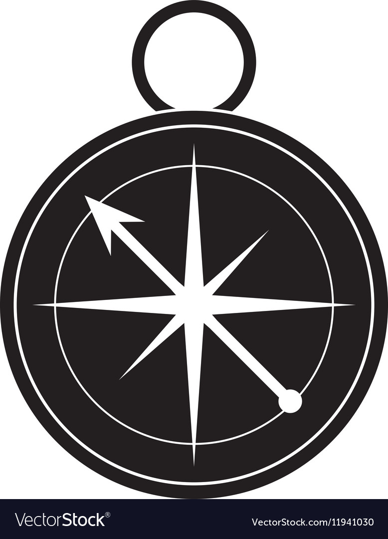 Silhouette compass location element camping vector