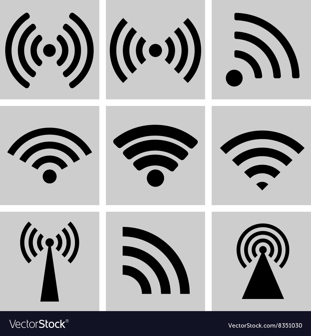 Wireless technology black web icons set vector