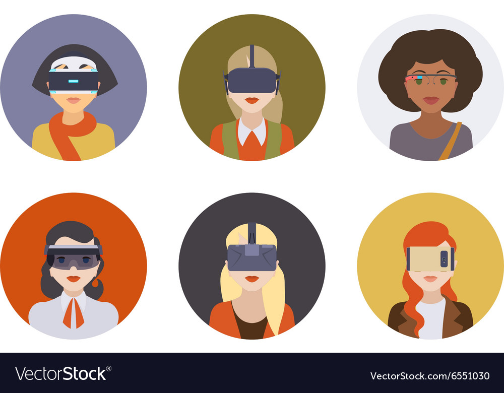 Women in the virtual reality headsets vector