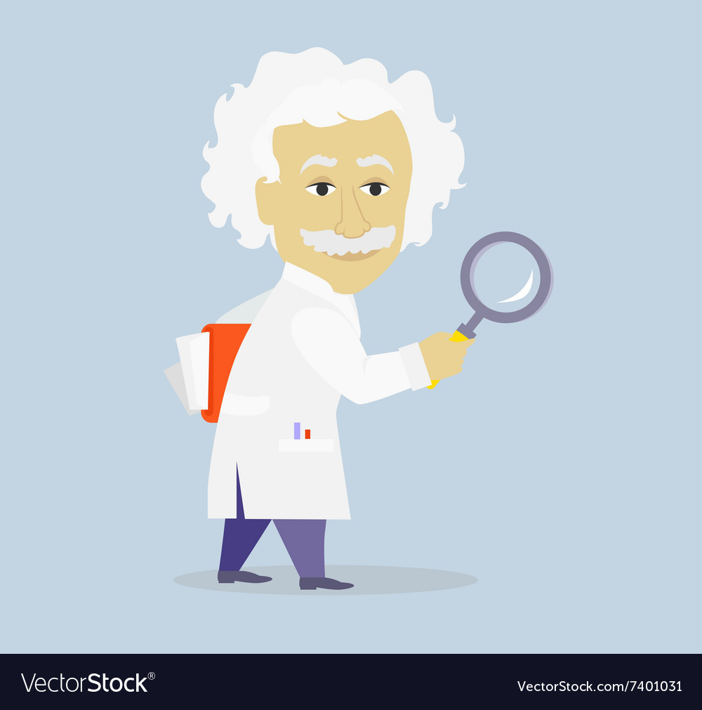 Funny albert einstein cartoon portrait isolated vector