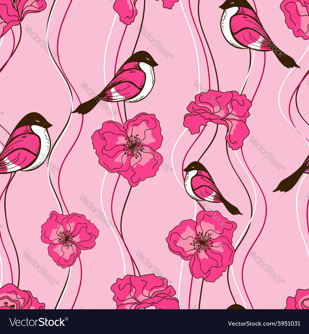 Seamless pattern of flowers and birds vector