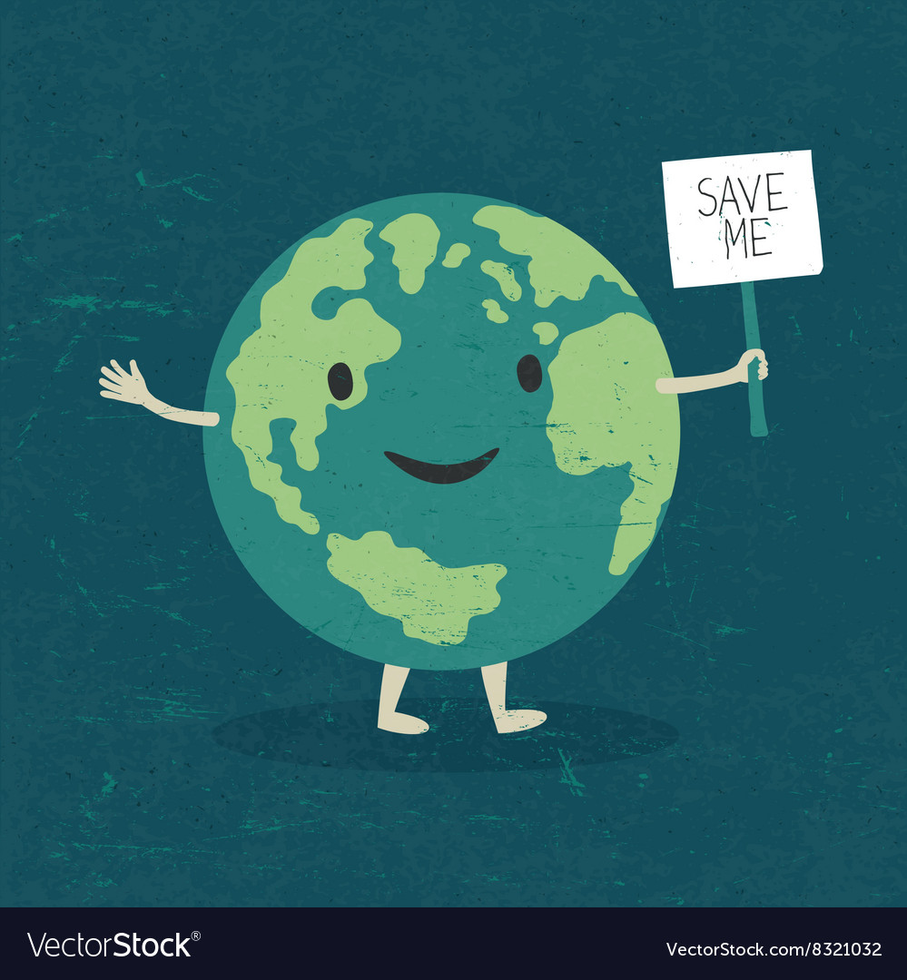 Cartoon earth planet smile and hold banner with s vector