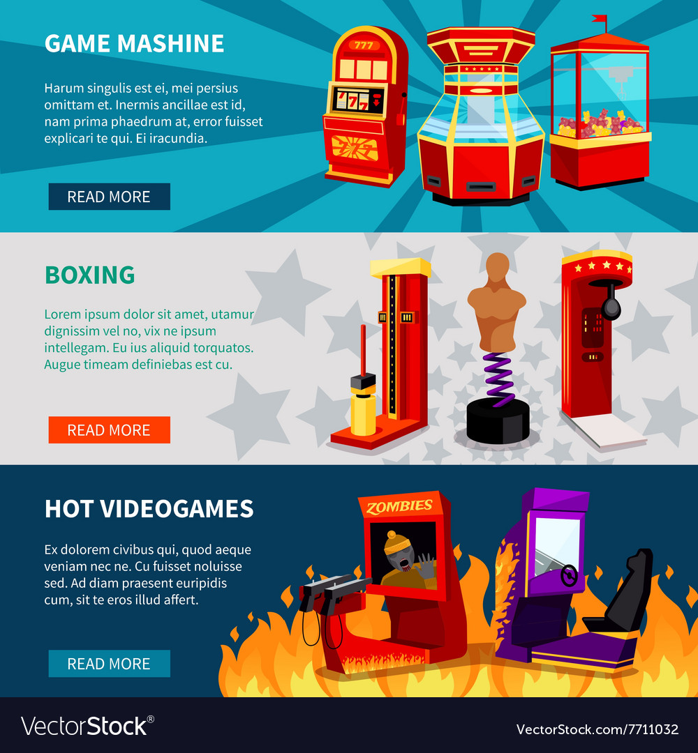 Game machine banners set vector