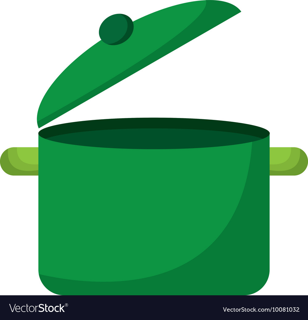 Kitchen pot green icon vector