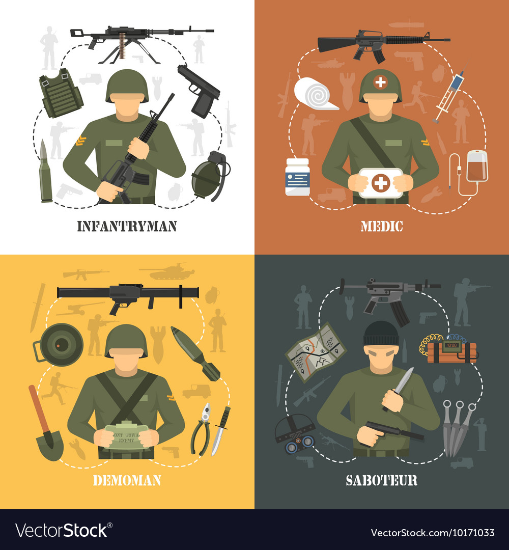 Military army 4 flat icons square vector