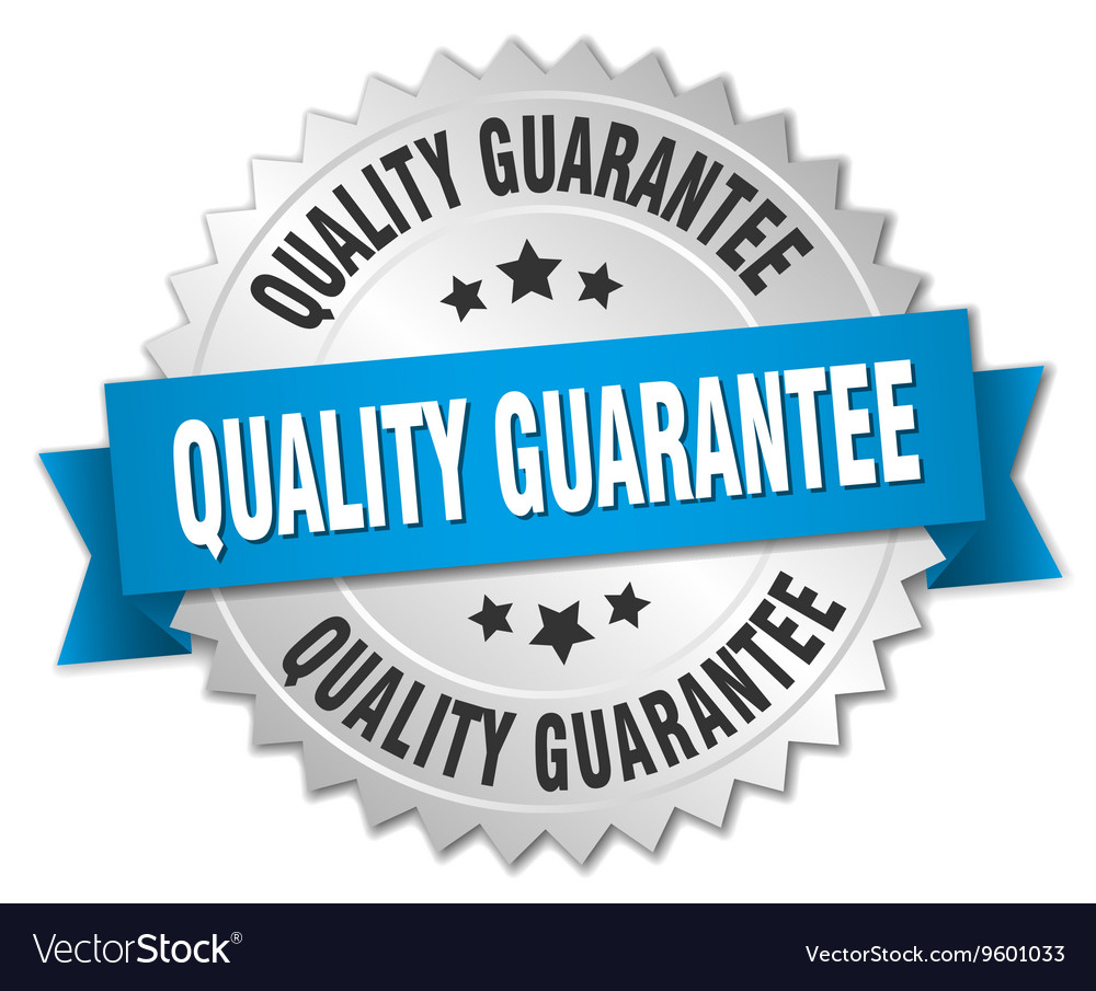 Quality guarantee 3d silver badge with blue ribbon vector