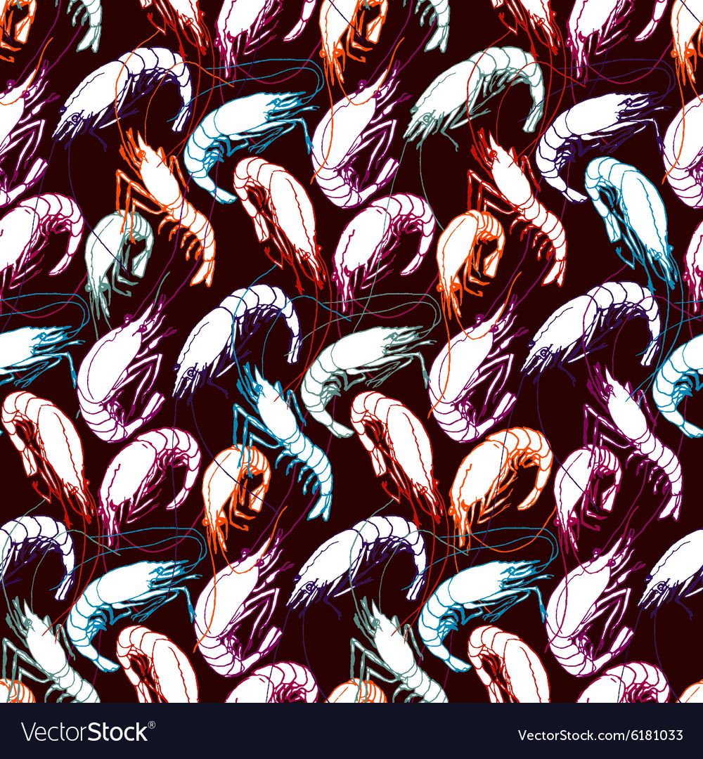 Shrimps seamless pattern background orange purple vector