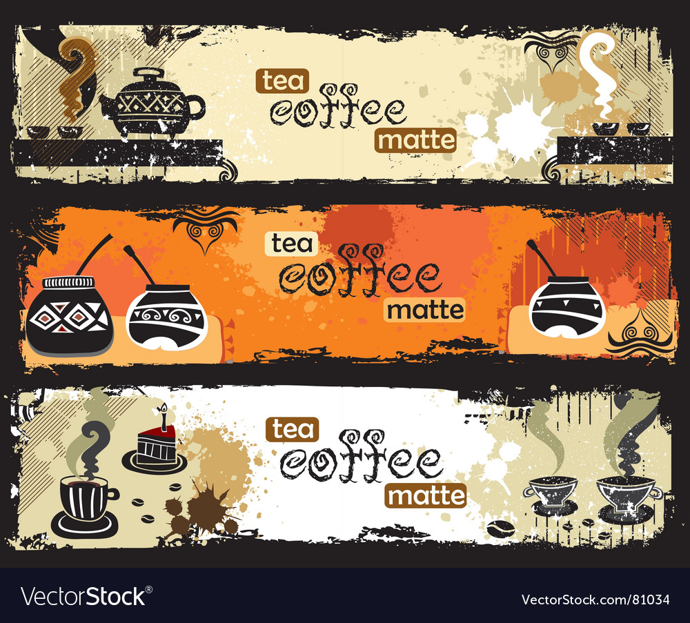 Tea coffee yerba mate banners vector