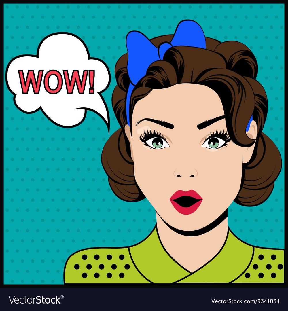 Wow pop art surprised woman vector