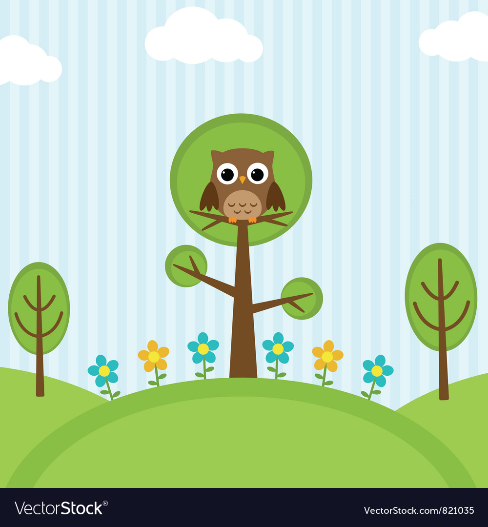 Owl on trees vector