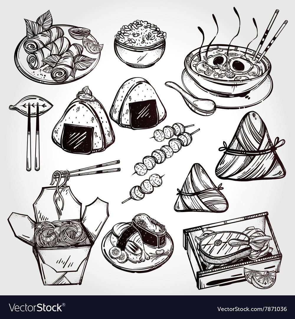 Oriental foods set vector