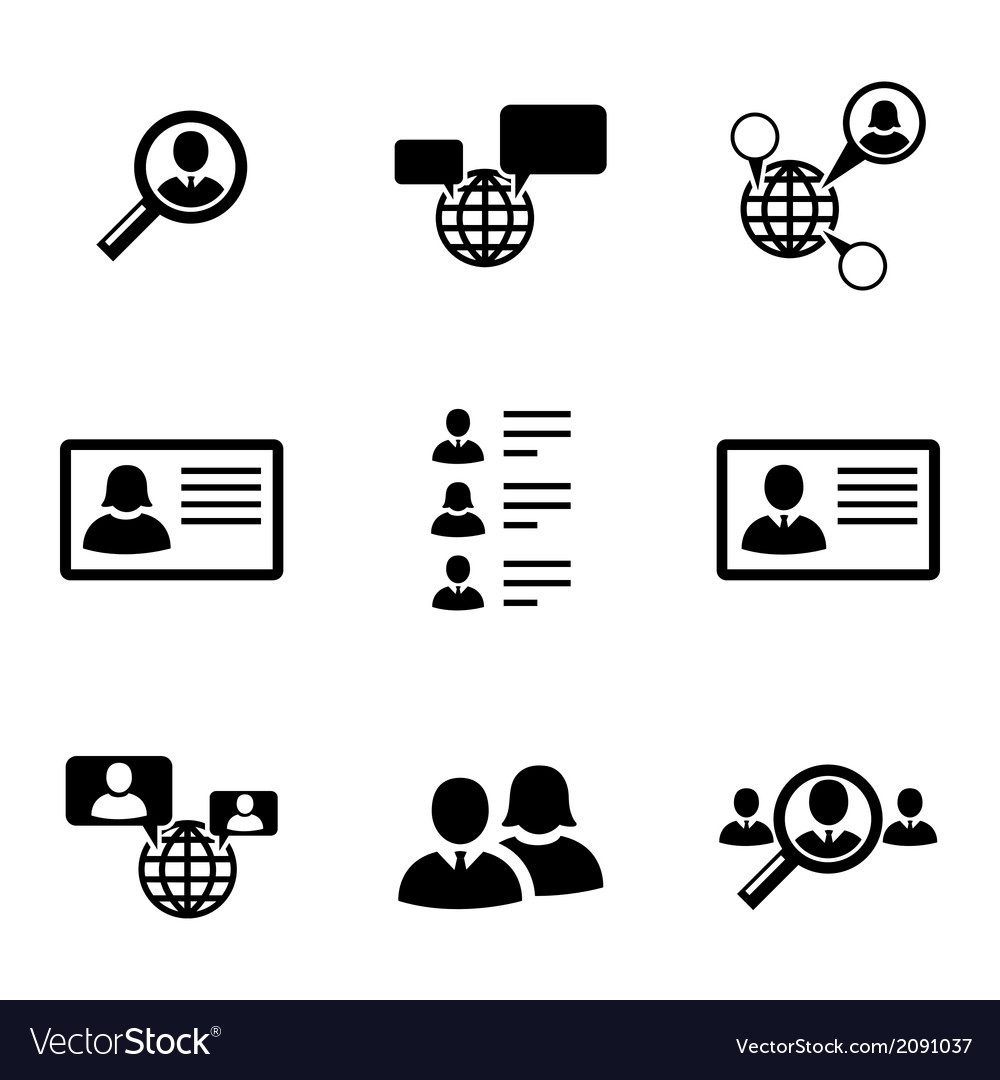 Black people search icons set vector