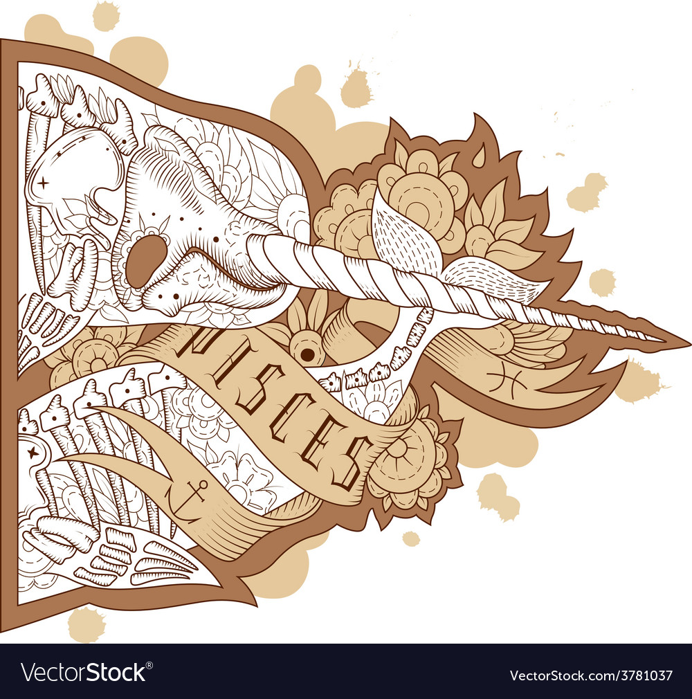 Engraving pisces vector