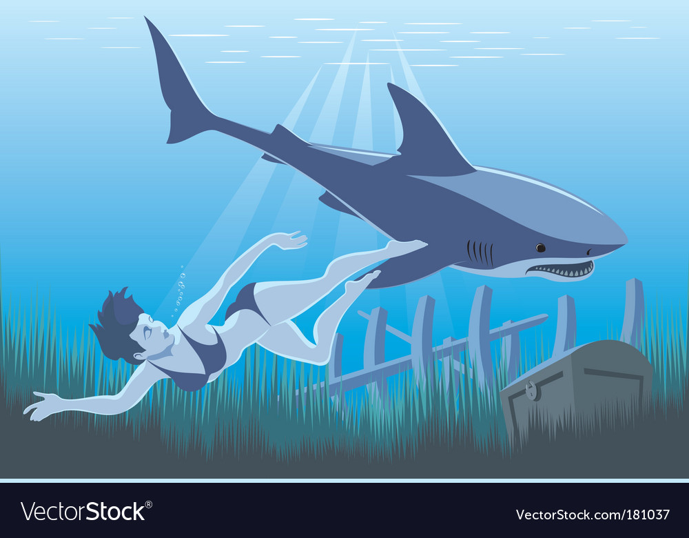 Girl and shark swimming vector
