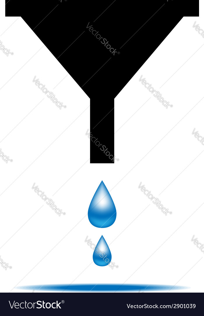 Funnel icon with drops of water vector