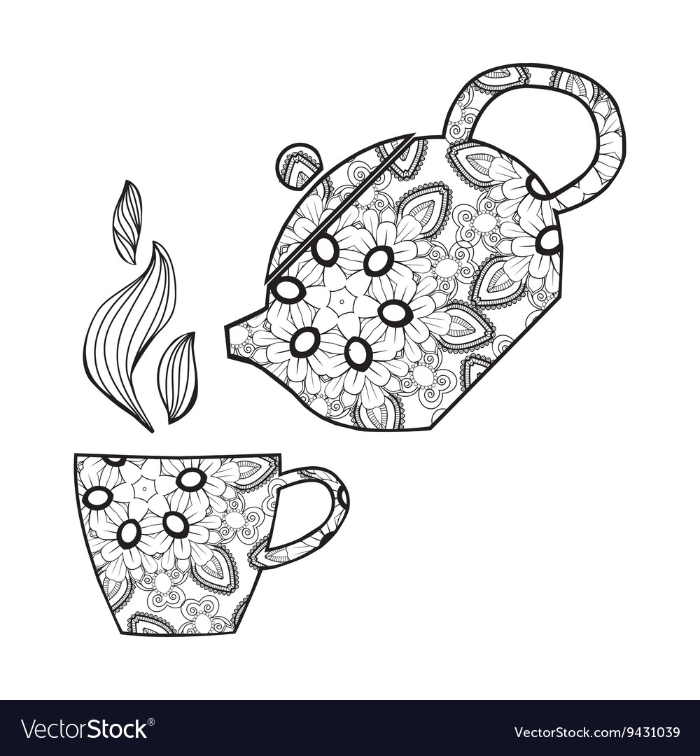 Hand drawn teapot and cup zentangle tea vector