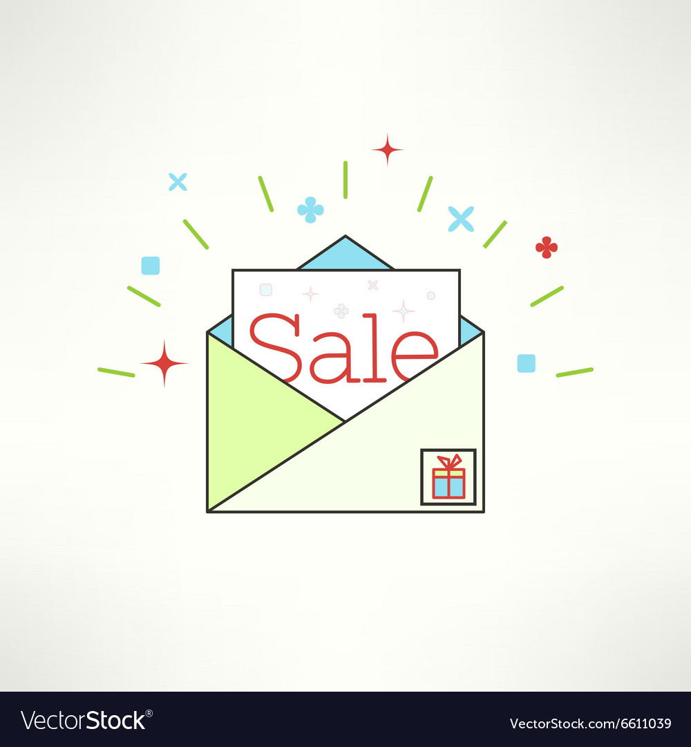 Sale envelope in modern flat design email vector