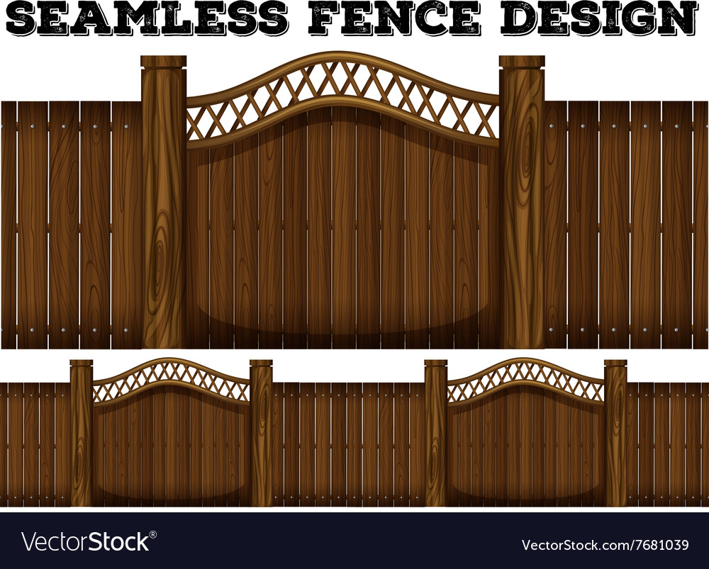 Seamless classic fence desing with door vector