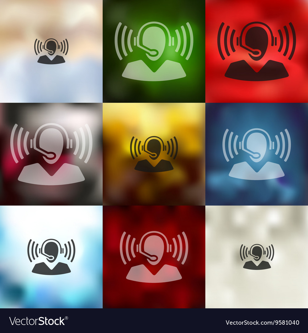 Call center icon on blurred background vector