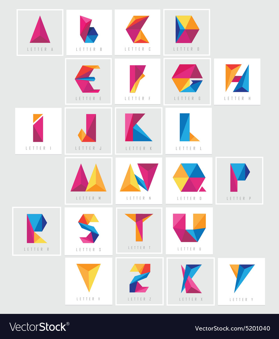 Geometric letters vector