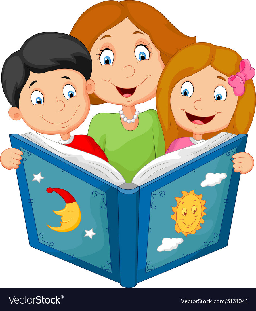 Cartoon mother reading with his children vector