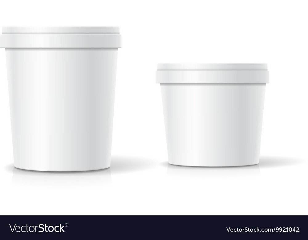 Set of blank plastic bucket container vector