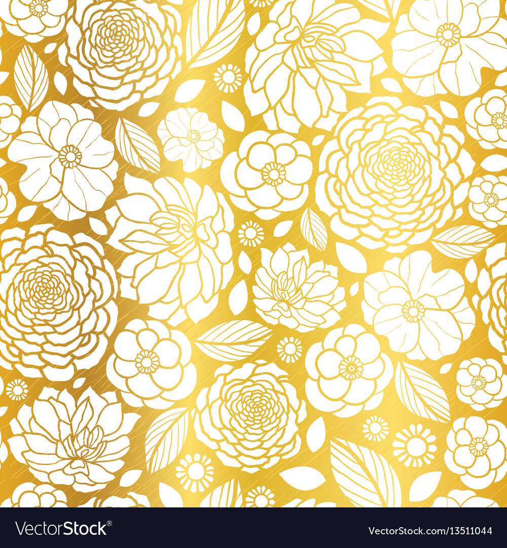 Gold and white mosaic flowers seamless vector
