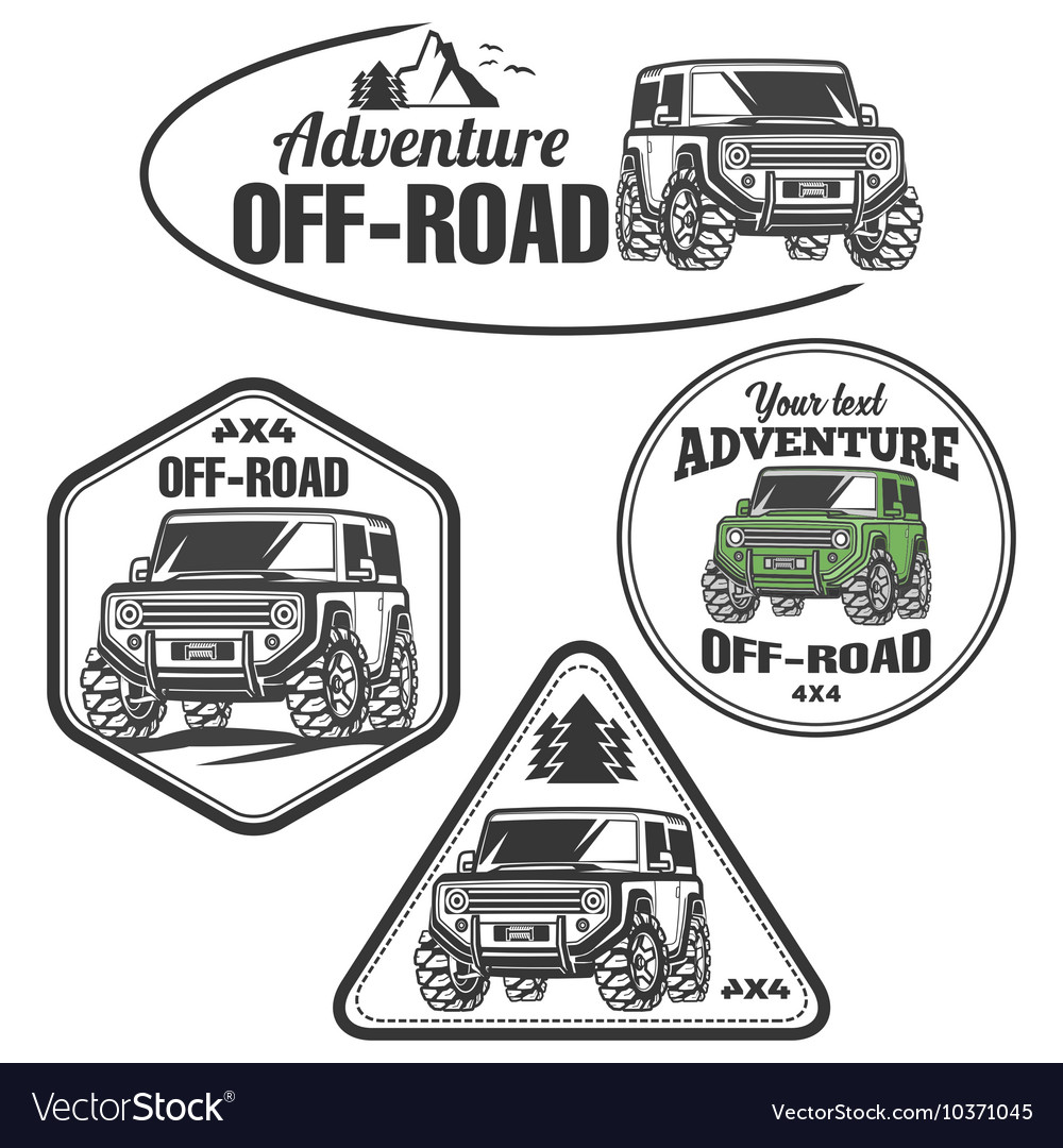 Car offroad 4x4 suv trophy truck logo set vector