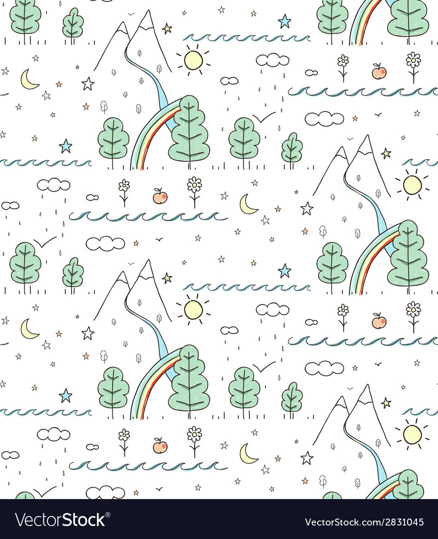 Seamless nature landscape line drawing vector